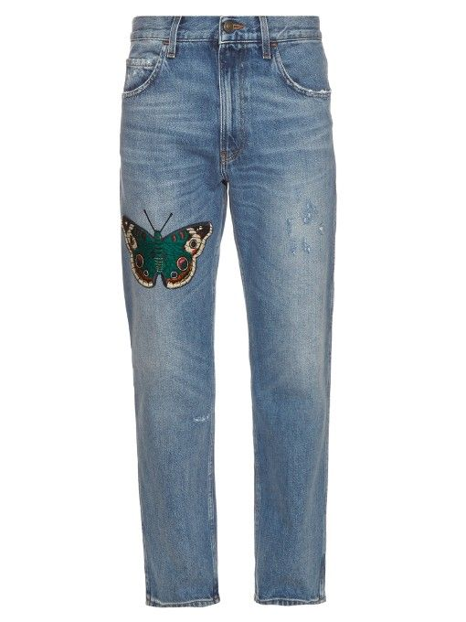 c5589bb1dadc GUCCI Embroidered Butterfly Relaxed-Leg Jeans. #gucci #cloth #jeans | Gucci  Men in 2019 | Jeans, Ripped jeans men, Mens destroyed jeans