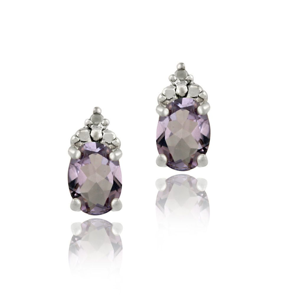 14 99 925 Silver 1 4ct Amethyst 0 02ct Diamond Earrings Ebay Fashion