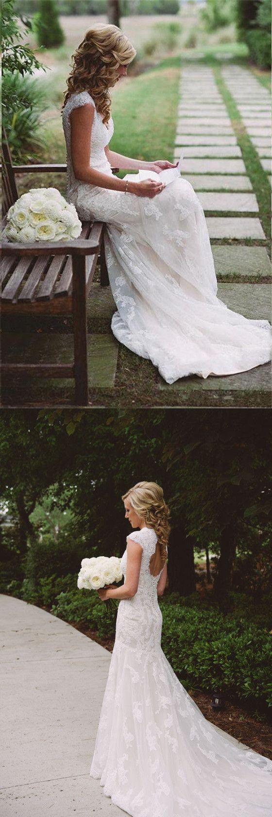 Lace wedding dress open back mermaid  New Romantic Mermaid Cap Sleeves Lace Vneck Openback Long Wedding