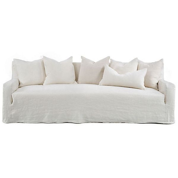 Emery 99 Linen Slipcover Sofa Oyster Sofas Loveseats 2 049 Liked On Polyvore Featuring Home Furniture Sofas C Slipcovered Sofa Linen Sofa Slipcovers