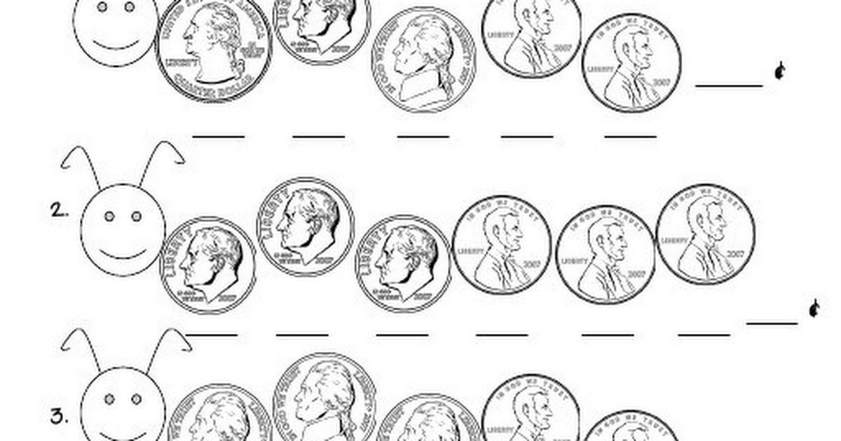 coin caterpillars.pdf 1st grade math, Math lessons, Math