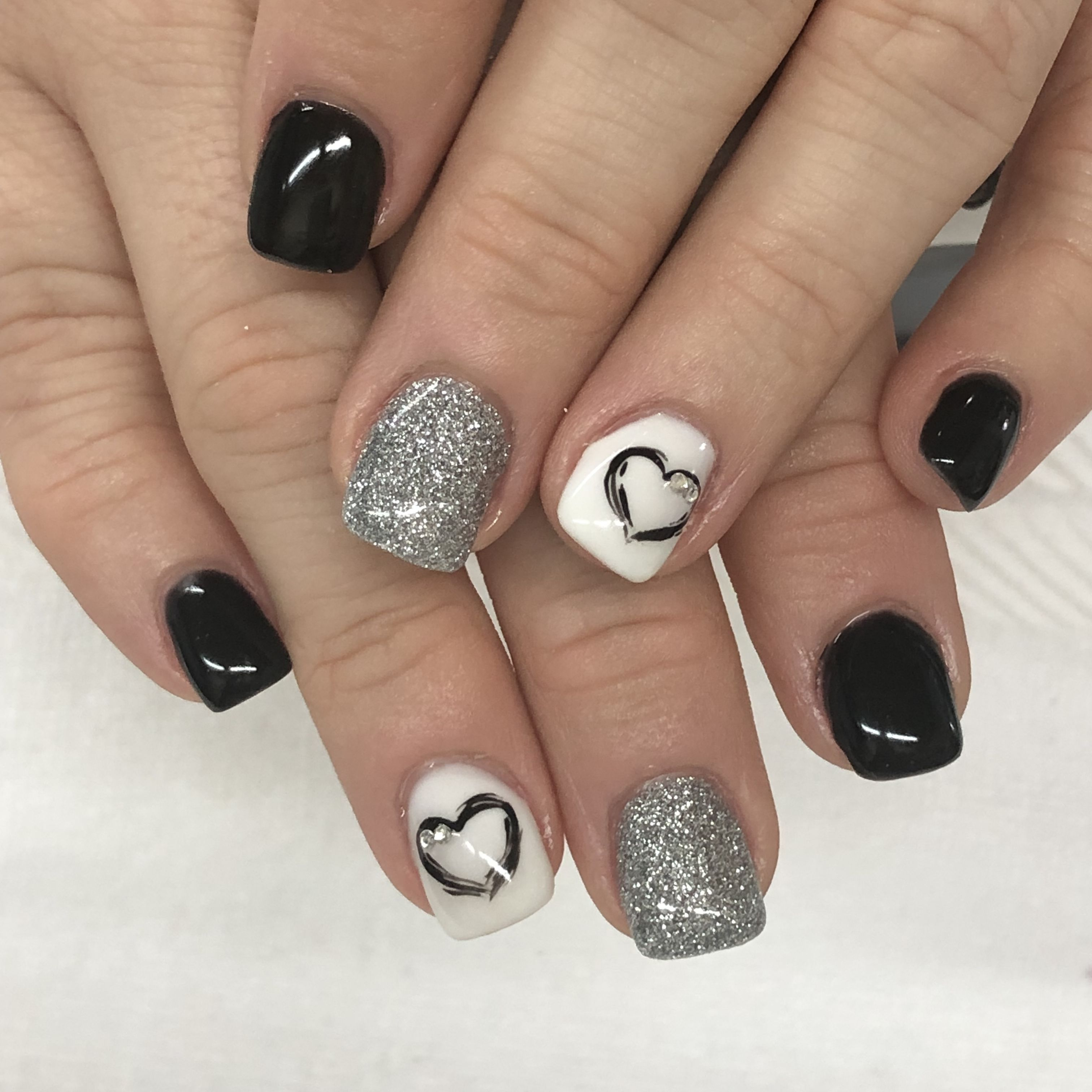 Black Silver And White With Hand Painted Heart Gel Nails Nails Nail Colors Gel Nail Designs
