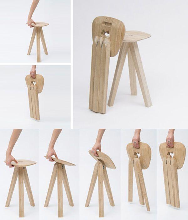 Unique and Simple Folding Wood Chair Low Tech Genius Pinterest