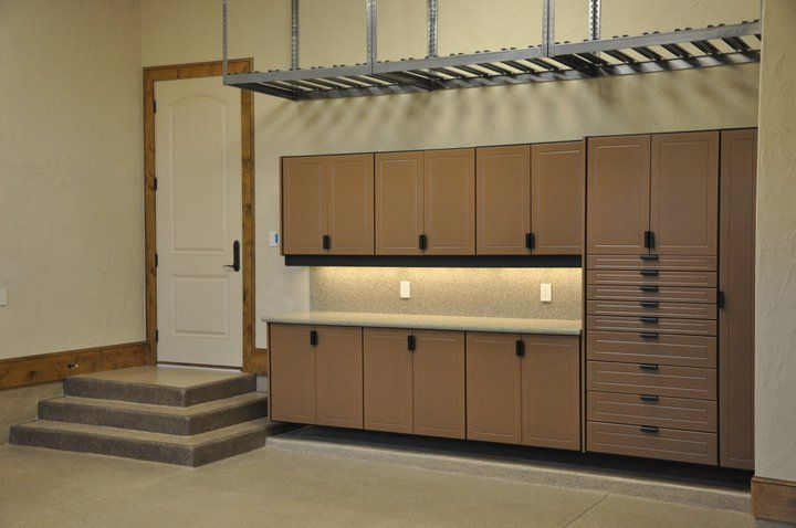 Custom Earthstone Garage Cabinets With A 8 Drawer Pantry Cabinet As Well Overhead Storage And