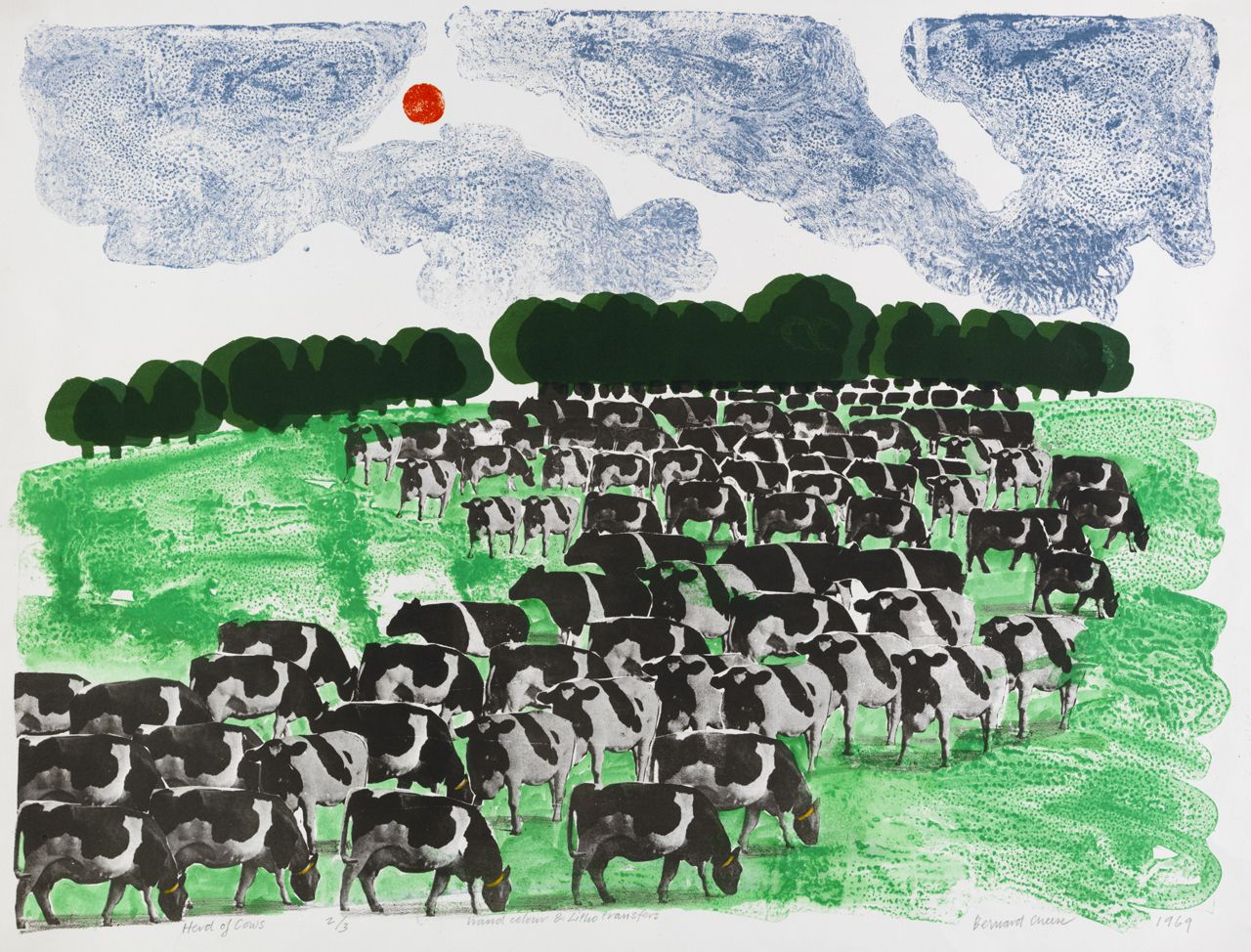 """Herd of Cows"" by Bernard Cheese, 1969 (lithograph)"