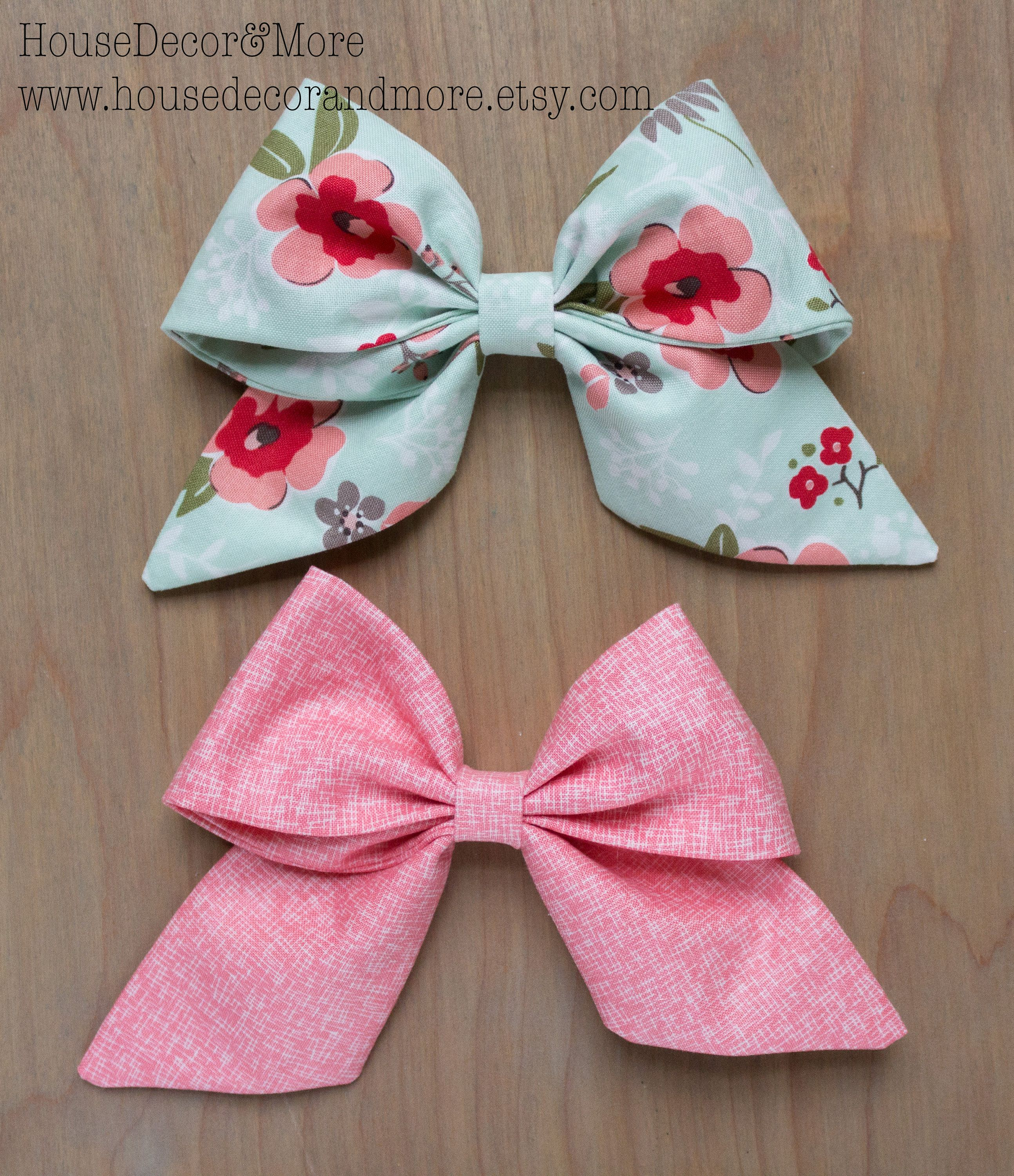 Girls Large Fabric Hair Bow - Set of 2 Fabric Hair Bows- Toddler Fabric Hair Bows - Birthday Hair Bows