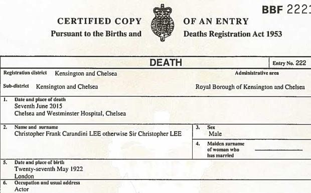 Pin By Sirchristopherleefan On SIR CHRISTOPHER LEE  THE BEST GB   Death  Certificate Template  Death Certificate Template Word