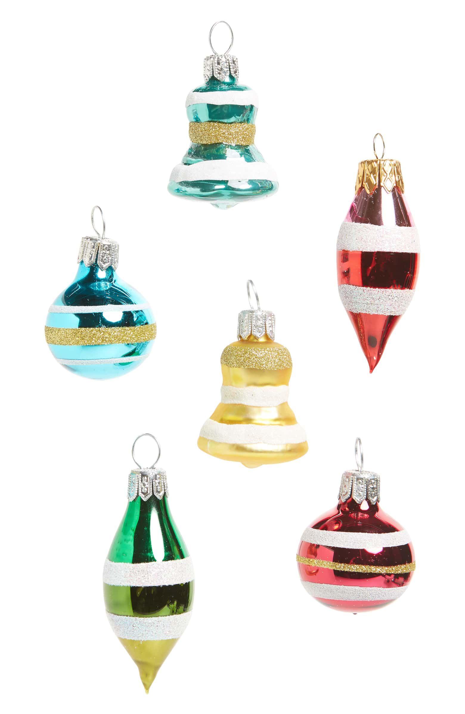 Vintage Set Of 6 Mini Ornaments Main Color Pink Multi Mini Ornaments Vintage House Ornaments