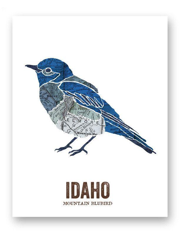 Idaho State Bird Nature Art Outdoor Art Vintage Map Art Art