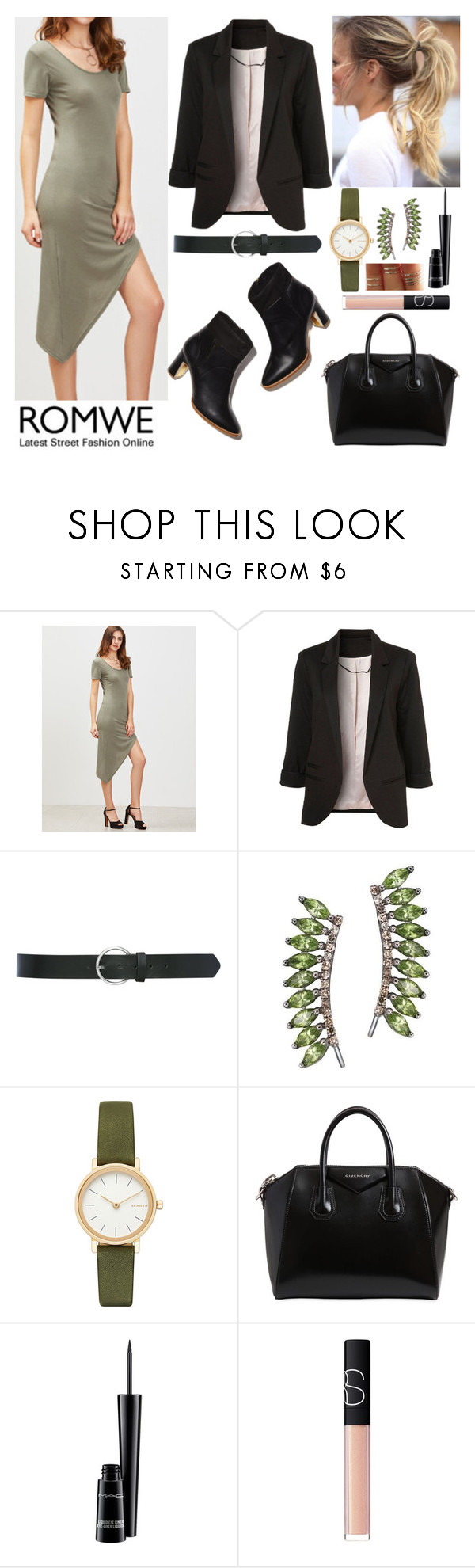 """""""00280."""" by annacastrolima ❤ liked on Polyvore featuring M&Co, Sidney Chung, Skagen, Givenchy, MAC Cosmetics, NARS Cosmetics, chic and romwe"""