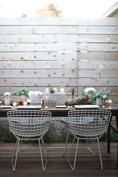 White washed fence, table setting, chairs... JL DESIGNS: an organic ...