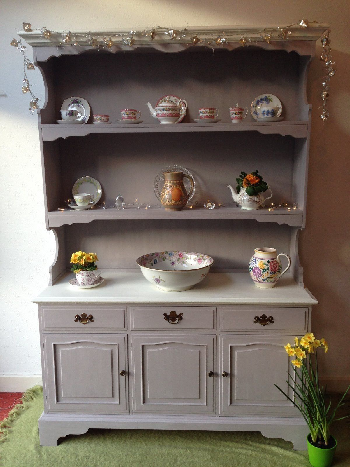 White Kitchen Dresser stunning large welsh dresser,hand painted in annie sloan paloma