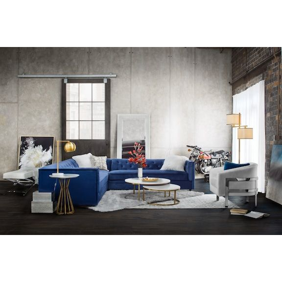 Living Room Furniture Moda 3 Piece Sectional With Right Facing Chaise Blue Dream House Decor Furniture Living Room Sectional