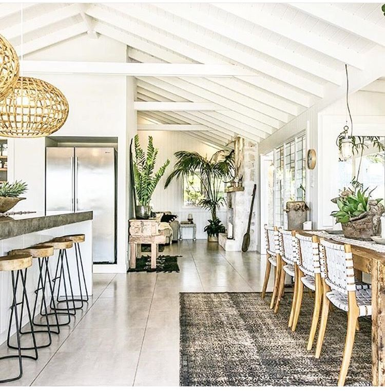 Bohemian Style In Australian Home Decor Ideas: Plants Add A Pop Of Green To A Bright Airy Sunlit Room