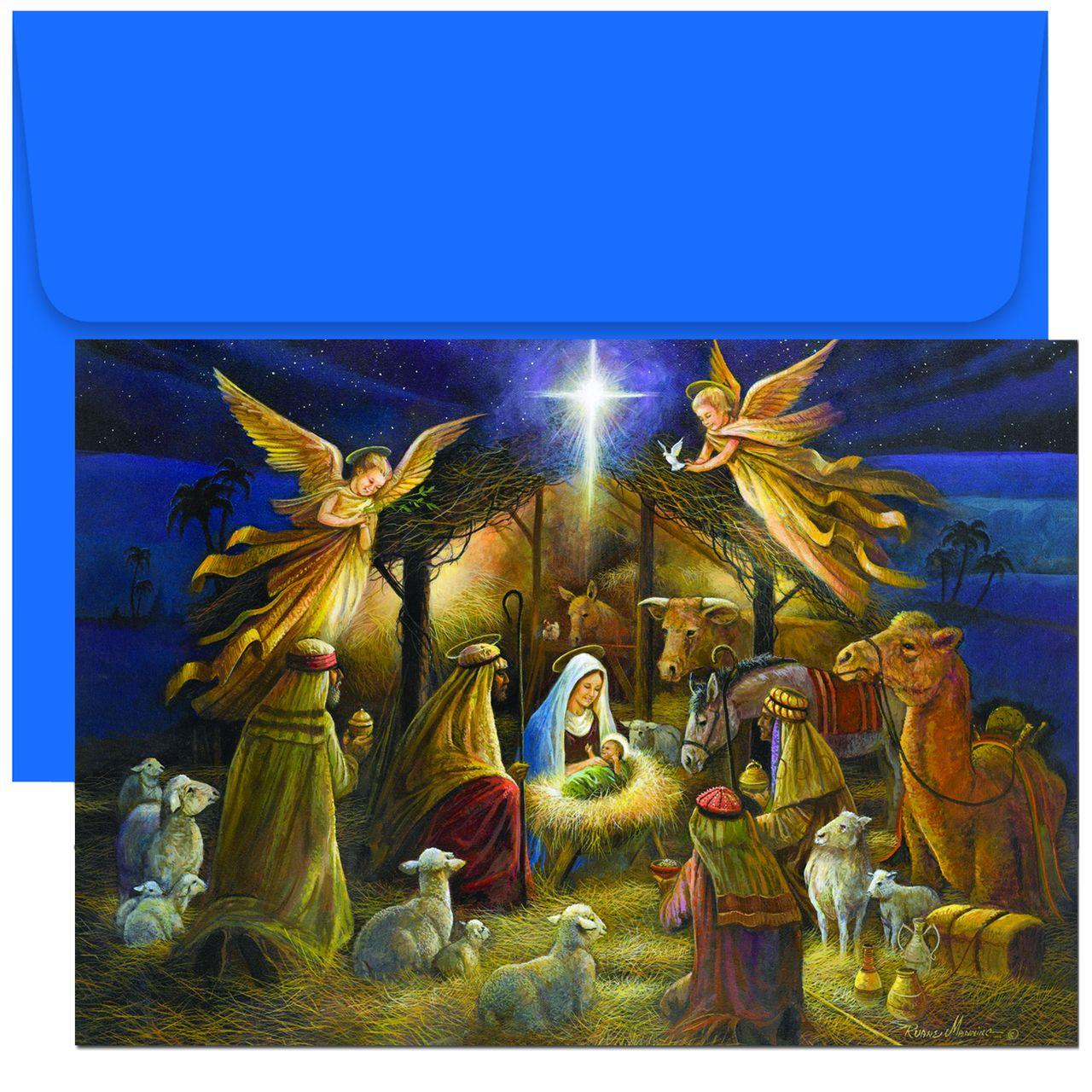 Holy Family Admires Jesus Nativity Religious Christmas: A Holy Scene Religious Christmas Cards
