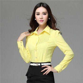 Formal Nueva Blusas Primavera Mujeres 2015 Trabajo Camisas Amarillas w6xHE6nq8