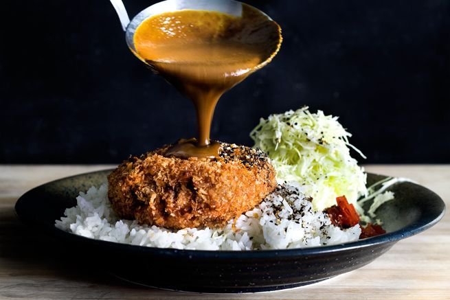 Menchi Katsu Kare Hamburger Croquette W Japanese Curry Sauce Japanese Curry Katsu Burger Recipe Croquettes