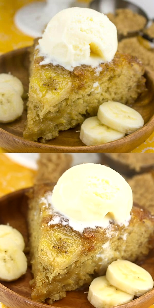 Banana Upside Down Cake Caramel and banana collide in this perfectly delicious spin on a traditional cake. Banana Upside Down Cake will be your new fave, gooey, flavorful and absolutely addicting.