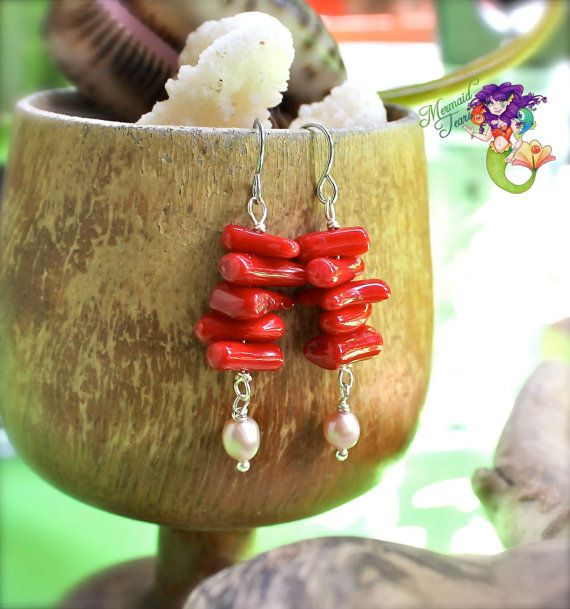 Red Coral Earrings from Hawaii