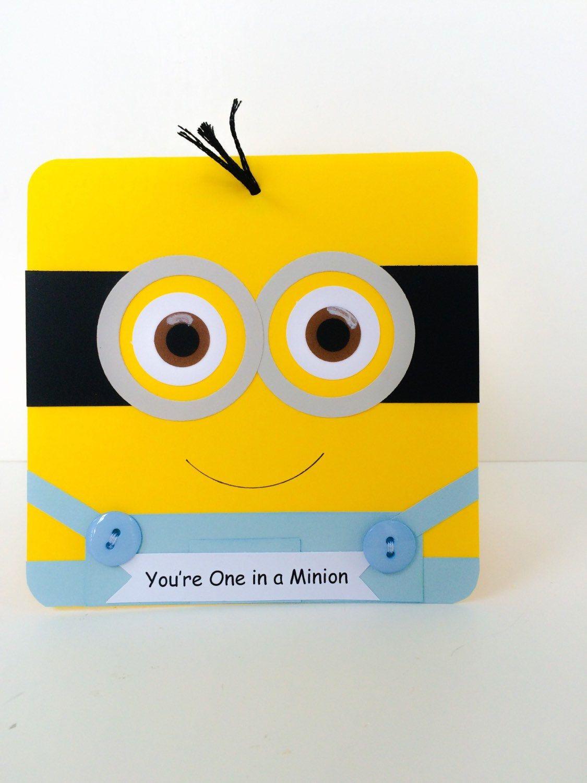 Popular Items For Minion Birthday On Etsy Minion Card Minion Birthday Card Birthday Card Messages