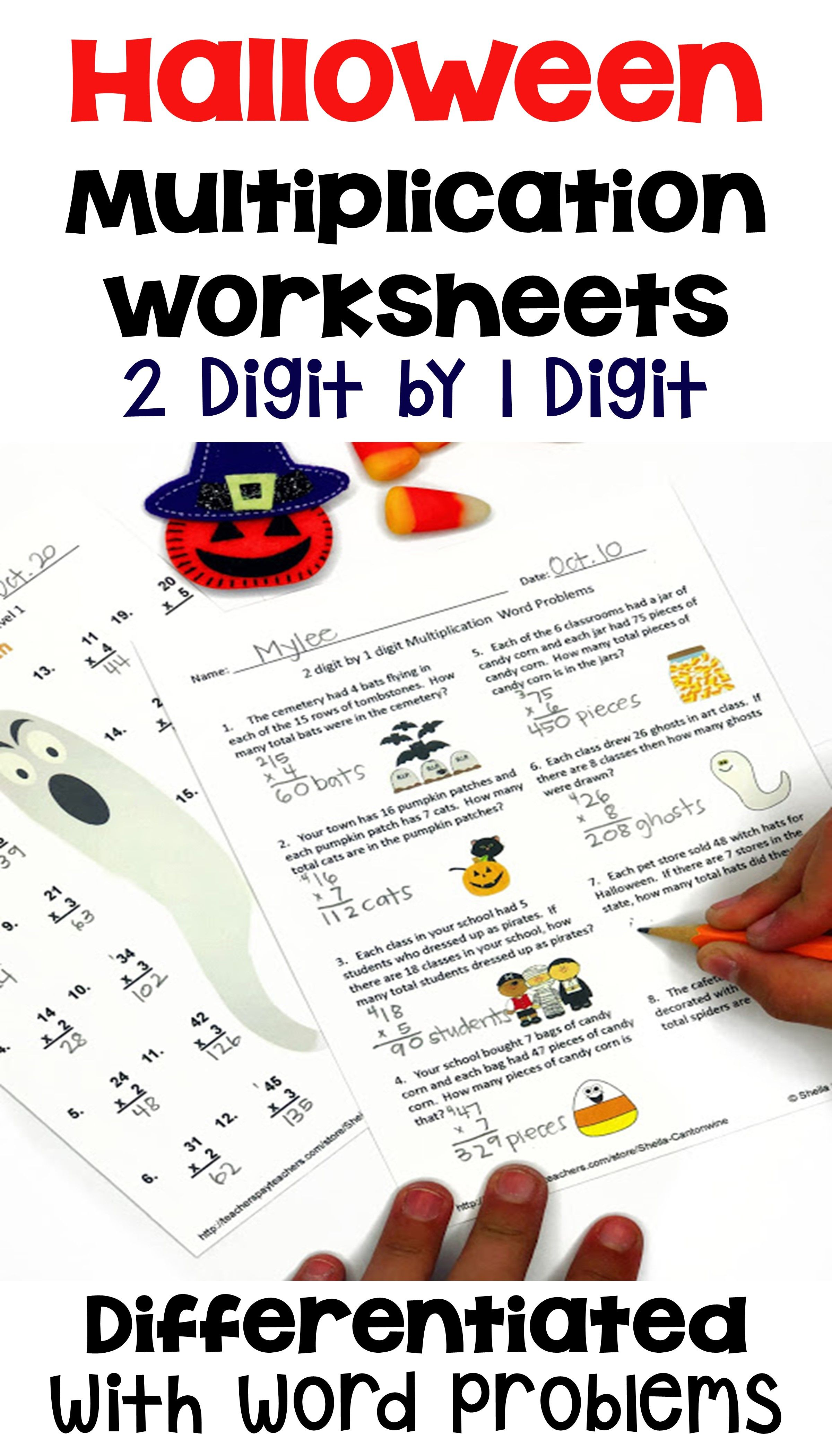 Halloween Multiplication Worksheets With Word Problems For Morning Work Centers Halloween Math Halloween Math Activities Differentiation Math [ 4200 x 2400 Pixel ]