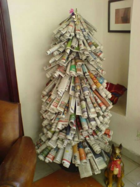 Innovative Christmas Trees Made From Recycled Material Bhavinionline Com Recycled Christmas Tree Diy Newspaper Decorations Eco Friendly Christmas