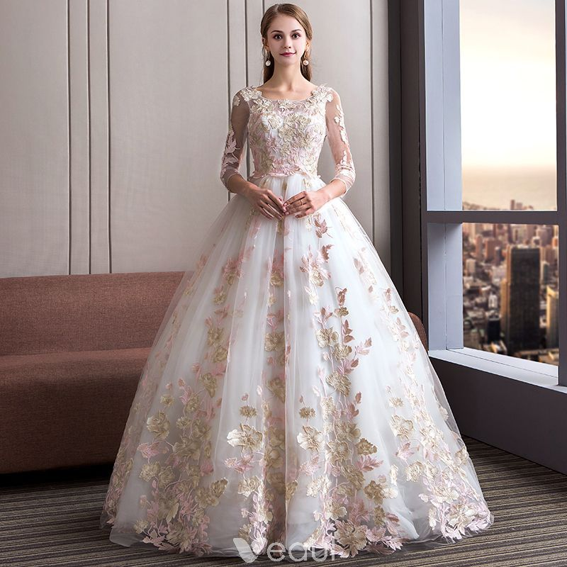97f62024db Amazing / Unique Ivory Wedding Dresses 2018 Ball Gown Scoop Neck 3/4 Sleeve  Appliques Lace Backless Ruffle Floor-Length / Long