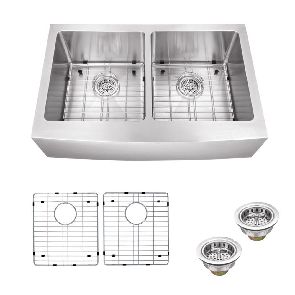 Ipt Sink Company Farmhouse Apron Front 33 In 16 Gauge Stainless Steel Double Bowl Kitchen Sink In Brushed Stainless Iptap5050p The Home Depot Double Bowl Kitchen Sink Stainless Steel Double Bowl Kitchen