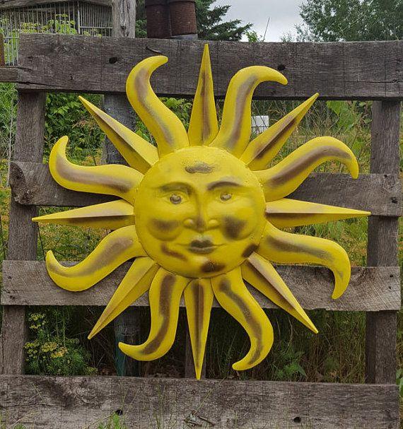 Large Metal Sun Wall Art Yellow And Antique Brasss Garden Decor