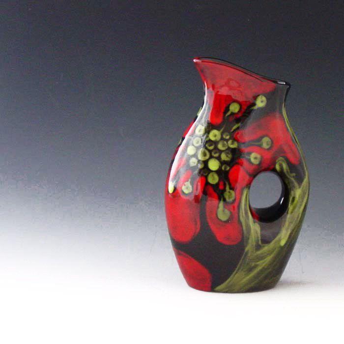Ceramic Vase Red Poppy Funky Vase Colorful Modern Ceramic