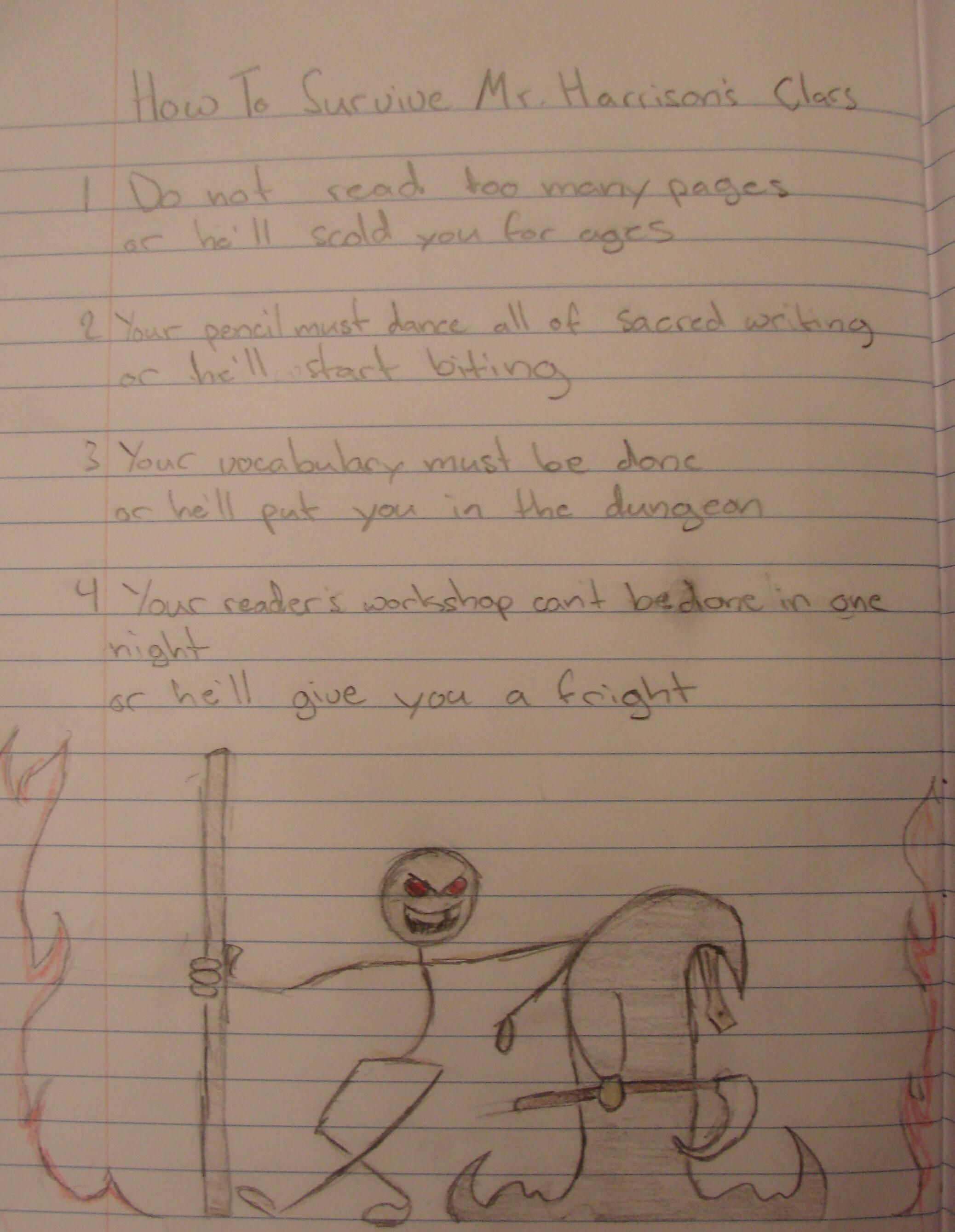 """What wins a """"Mr. Stick of the Week"""" award?  7th grader Kasey, during his ten minutes of sacred writing time, wrote the following poem.  He, then, took his notebook home to decorate and gussey-up the page; he's captured my bamboo staff and my missing tooth wonderfully, and he has me standing next to the """"Duck of Death,"""" which is a reference known by me and my students.  """"Original piece of writing presented uniquely"""" + """"fun Mr. Stick illustration"""" = MR. STICK OF THE WEEK NOTEBOOK PAGE award!"""