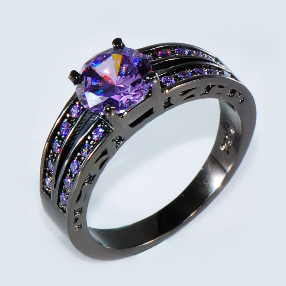 Size 6 10 Purple Amethyst Cz Wedding Ring 10kt Black Gold Filled