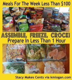 6 chicken recipes that can be assembled in less than one hour, and cost well under $100. Assemble the raw ingredients ahead of time in freezer bags, then freeze and cook in the crockpot when you're ready!
