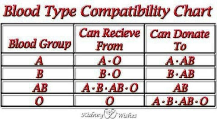 Blood Type Compatibility Chart Provided you know everyone's