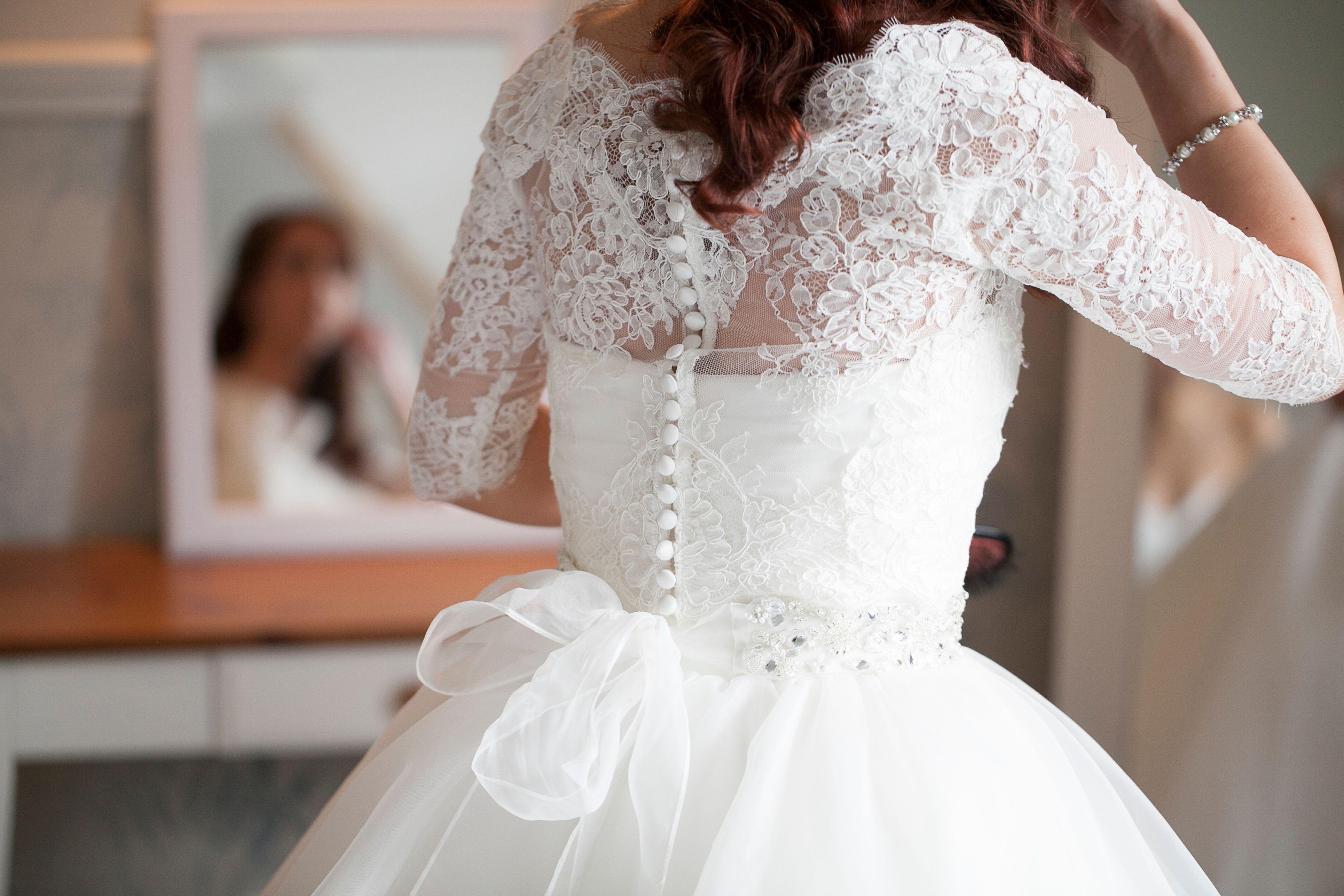 Custom lace coverup added to strapless dress wedding dress ideas