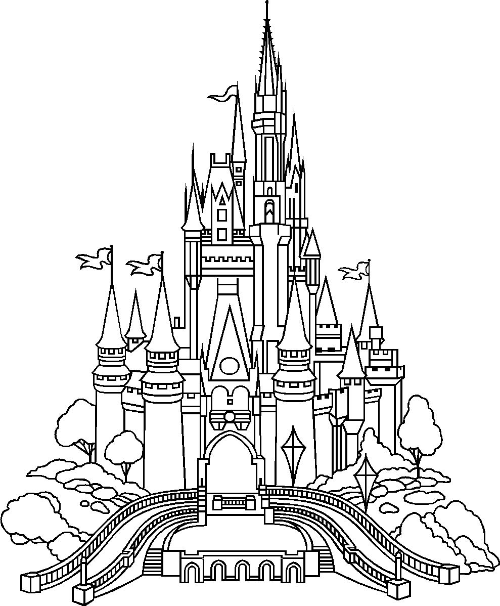 Castle of disney world line drawing tattoo inspiration for Disney castle coloring pages