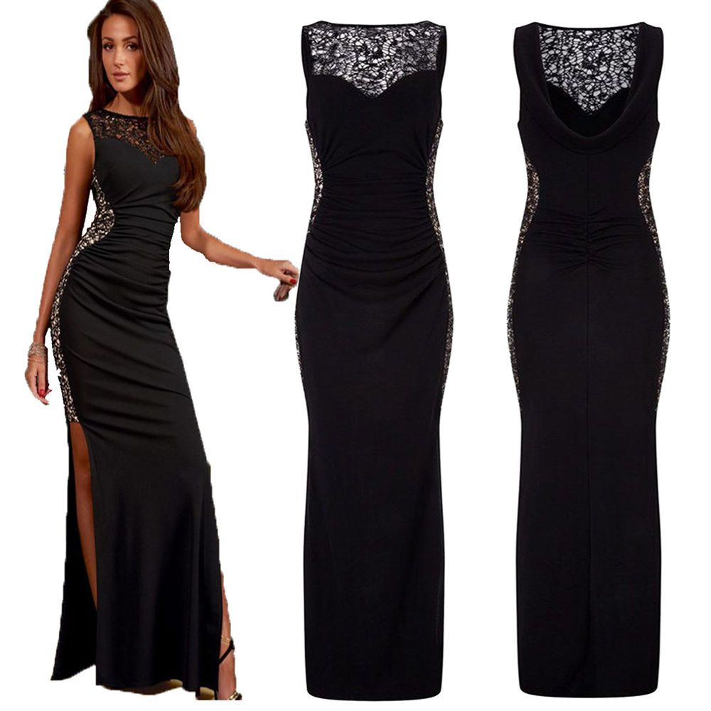 Ladies sexy long maxi cocktail party evening bodycon prom dress plus
