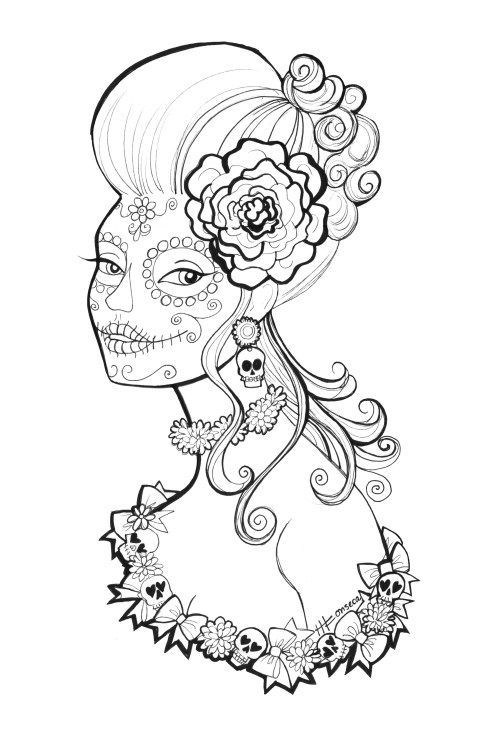 Here Are Three Free Day Of The Dead Or Dia De Los Muertos Coloring Pages Featuring Sugar Skull Makeup And Fanciful Hairstyles