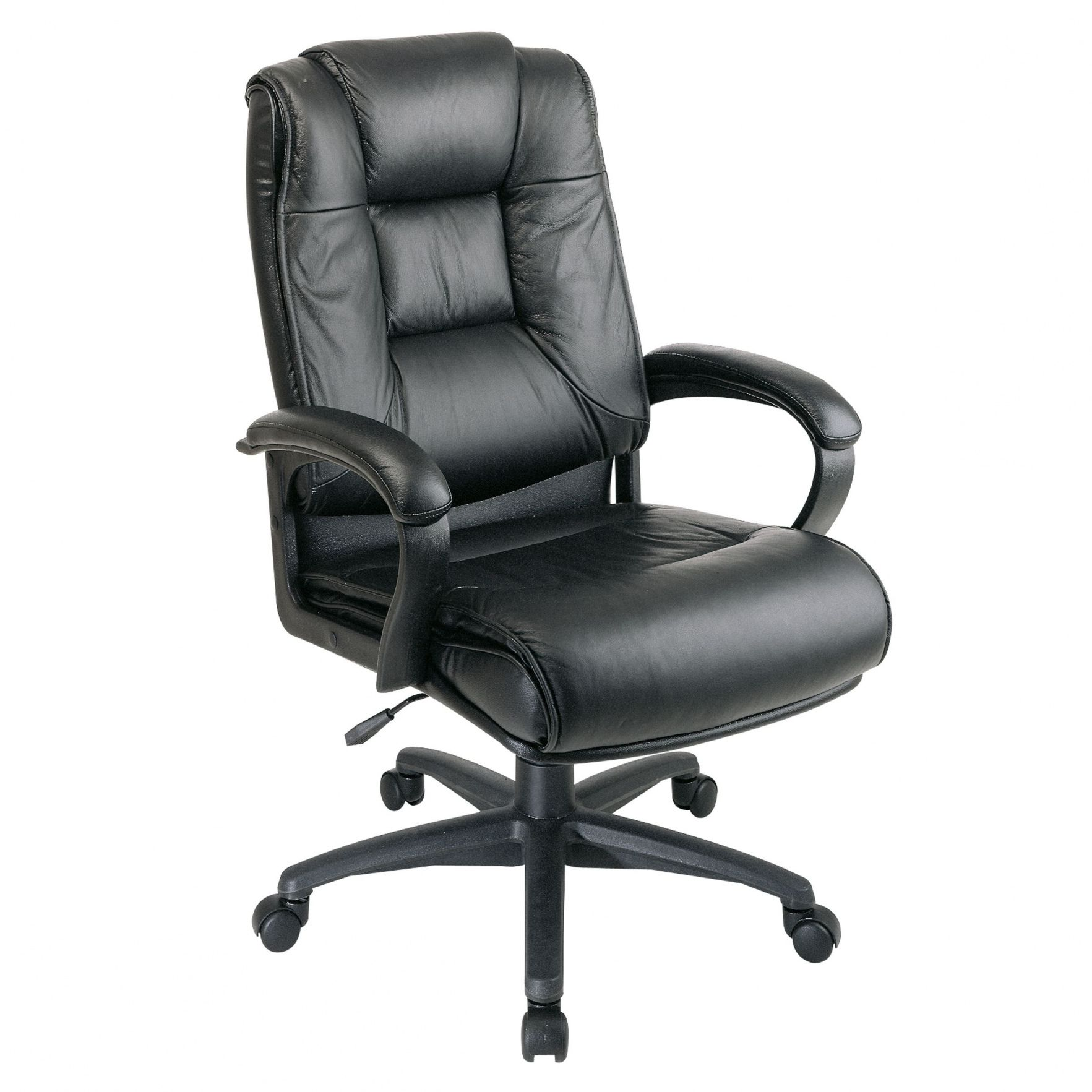 black leather office chair without wheels