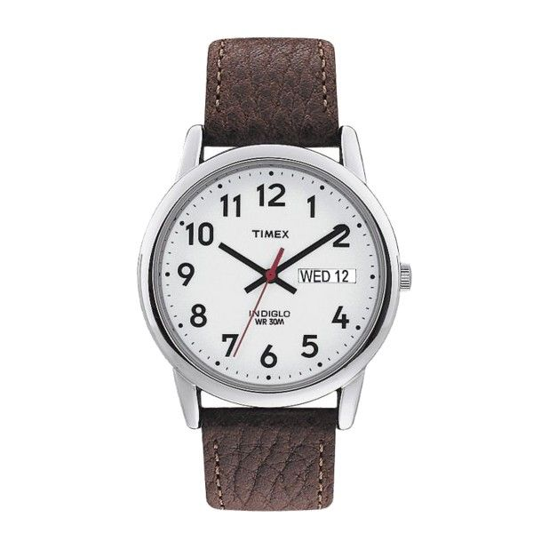 8dbd8884691a Men s Timex Easy Reader® Watch with Leather Strap - Silver Brown