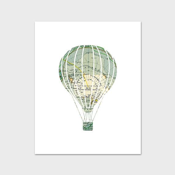 Hot air balloon print 8x10 printable nursery art print world map items similar to hot air balloon print 8x10 printable nursery art print world map explore nursery art map nursery print instant download nursery poster gumiabroncs Image collections