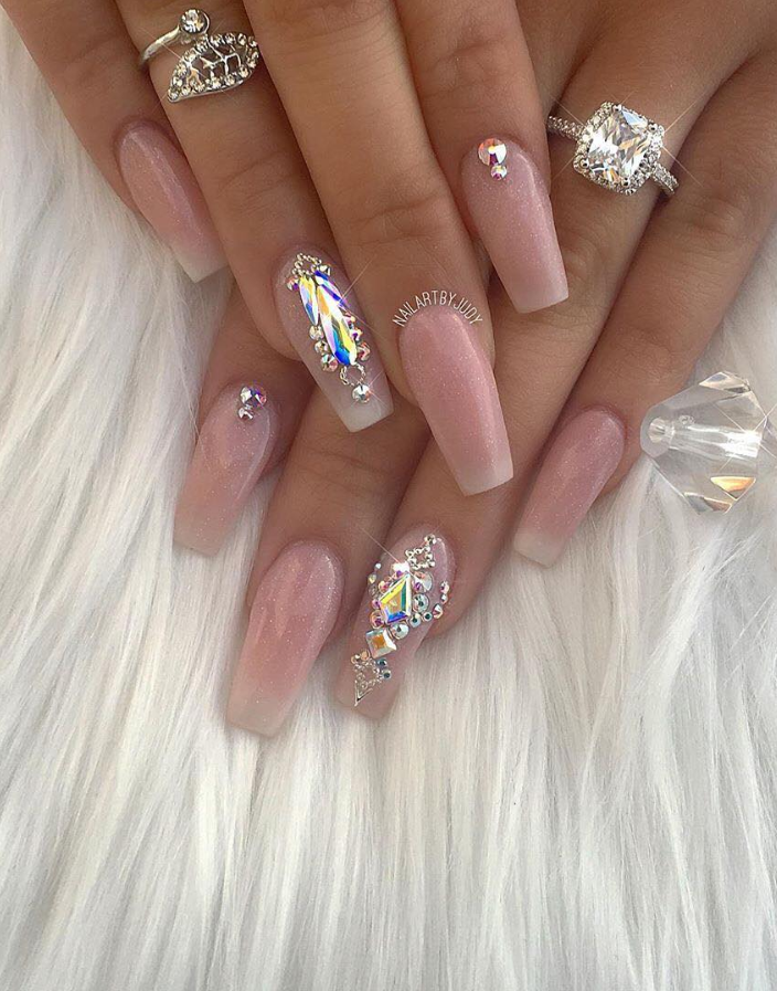 60 Bling Acrylic Coffin Nails Design With Rhinestones , Page