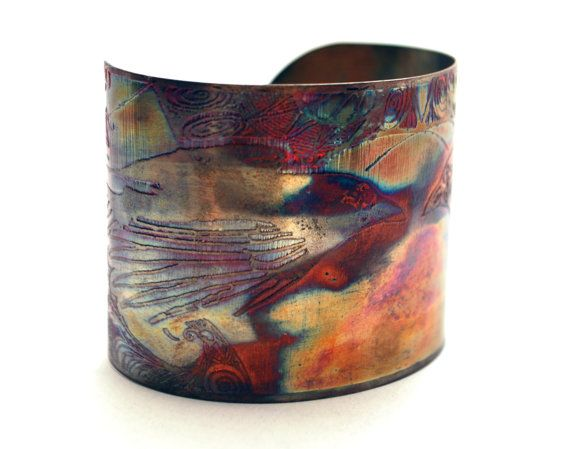 Etched copper crow raven cuff bracelet by annamcdade on Etsy