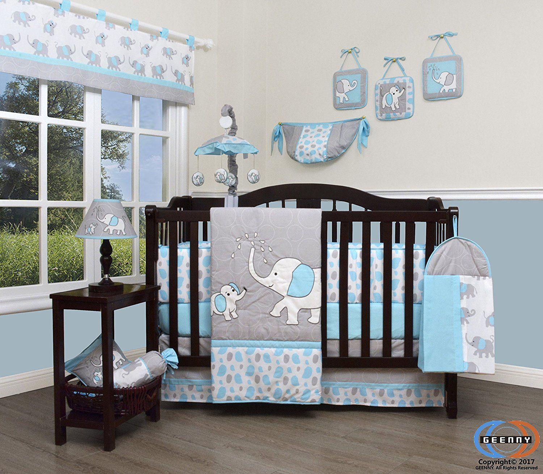 Baby cribs amazon - Amazon Com Boutique Baby Blizzard Blue Grey Elephant 13 Piece Nursery Crib Bedding Set