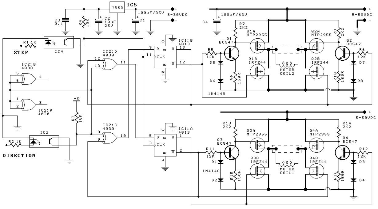 Cnc Driver Diagram Electrical Schematics Wiring Bipolar Stepper Motor Schematic Design Elektronika Simple