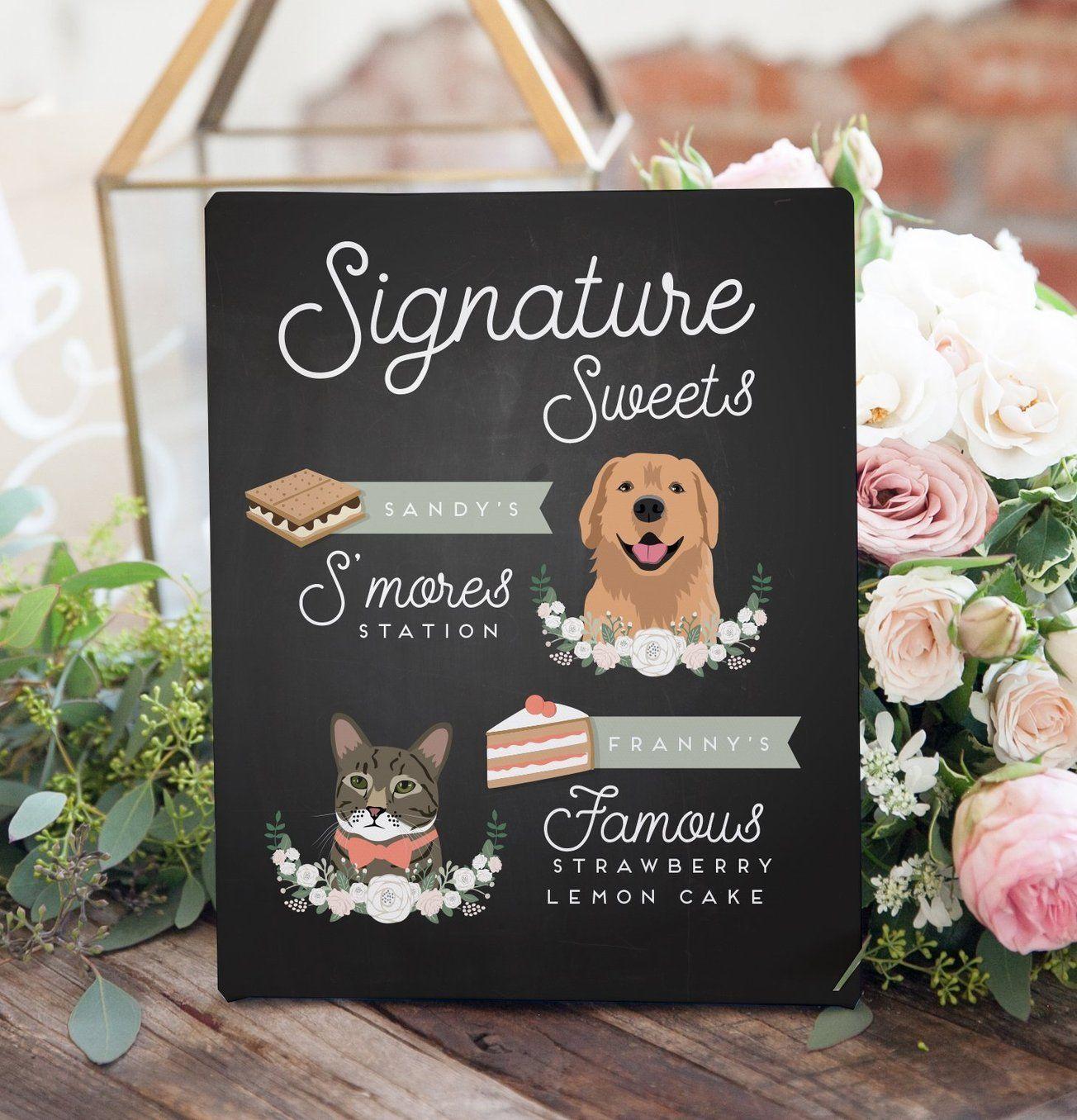 Wedding Dessert Table Sign: Chalkboard Dessert Sign For Wedding With Pet Portrait