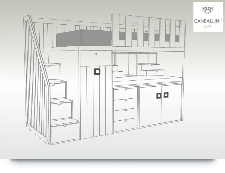 Literas con escritorio extraible para habitaciones - Habitaciones juveniles dos camas ...