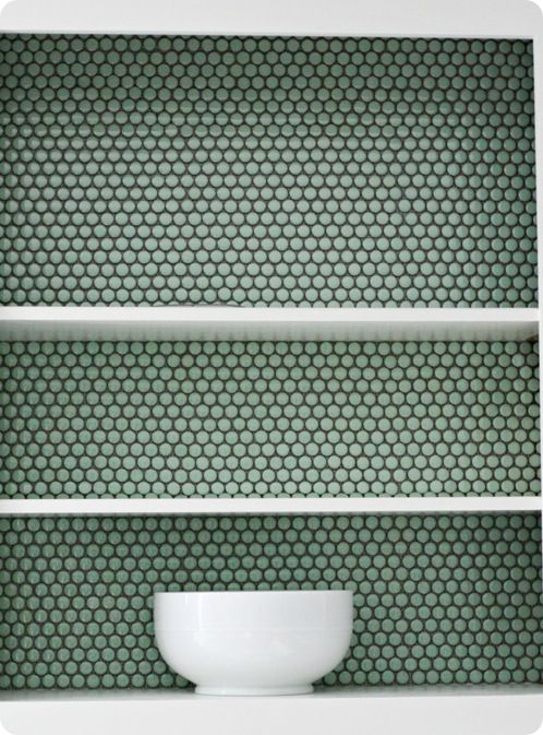 Penny Tile Cabinet Backs Tutorial Love This Idea Kitchens