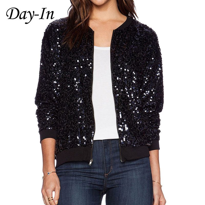 Day-In 2016 Black Sequin Coat Bling Bling Long Sleeve Party Jacket ...
