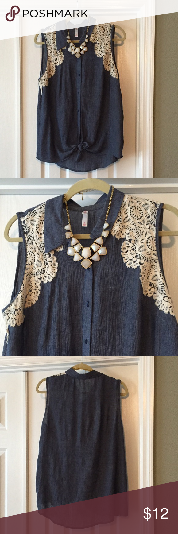 Target chambray top Super cute chambray top with cream color crochet detail and tie bottom. Xhilaration Tops Blouses